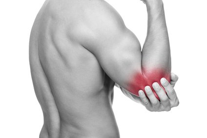 A man is suffering from 'Elbow pain'