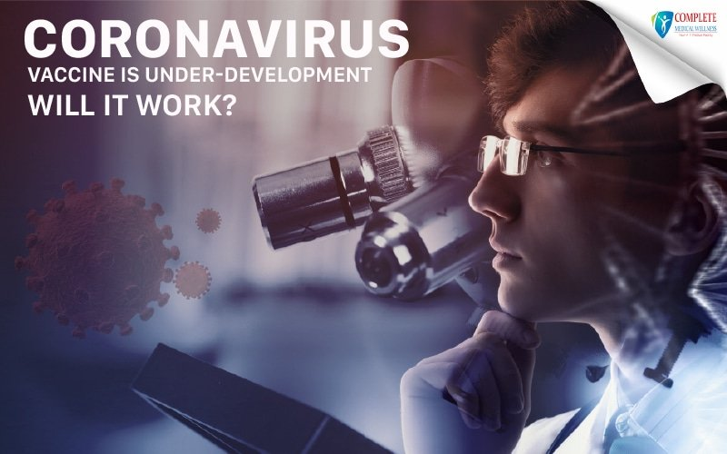 A young doctor thinking of 'Coronavirus vaccine' and its treatment